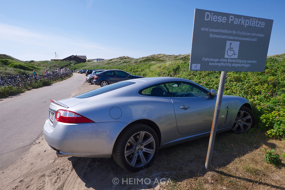 Sylt, Germany. Rantum. Parking for handicapped people.