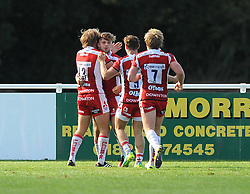 Harry Robinson of Gloucester United celebrates his try - Mandatory by-line: Paul Knight/JMP - 02/10/2016 - RUGBY - Hyde Park - Taunton, England - Bristol United v Gloucester United - Aviva A League