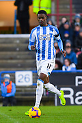 Adama Diakhaby of Huddersfield Town (11) in action during the Premier League match between Huddersfield Town and Arsenal at the John Smiths Stadium, Huddersfield, England on 9 February 2019.
