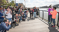 Virgin Money London Marathon 2015<br /> <br /> Photographers at the Winners Photocall<br /> <br /> Left to Right<br /> Eliud Kipchoge Kenya Mens winner<br />  Tigist Tufa Ethiopia Women Winner<br /> Posing with the Sporting Life Marathon Trophy<br /> <br /> Photo: Bob Martin for Virgin Money London Marathon<br /> <br /> This photograph is supplied free to use by London Marathon/Virgin Money.