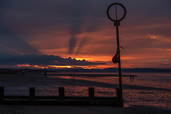Almost ten o'clock at night and the sun sets over Portobello Beach, Edinburgh. One week before the longest day.<br /> <br /> <br /> © Jon Davey/ EEm