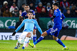 Brahim Diaz of Manchester City takes on Rachid Ghezzal of Leicester City - Mandatory by-line: Robbie Stephenson/JMP - 18/12/2018 - FOOTBALL - King Power Stadium - Leicester, England - Leicester City v Manchester City - Carabao Cup Quarter Finals