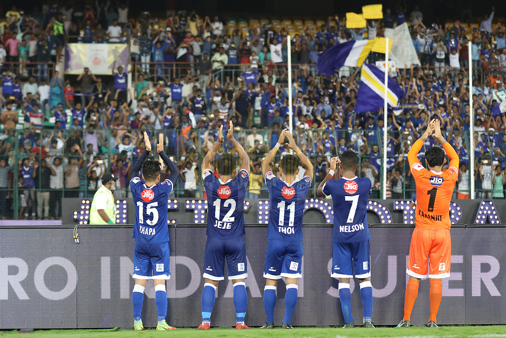 Chennaiyin FC players celebrate win with fans during match 46 of the Hero Indian Super League between Chennaiyin FC and FC Pune City held at the Jawaharlal Nehru Stadium, Chennai India on the 13th January 2018<br /> <br /> Photo by: Arjun Singh  / ISL / SPORTZPICS