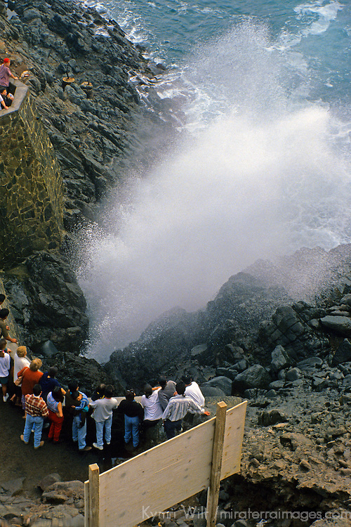 "North America, Mexico, Baja California, Ensenada. Visitors watch La Bufadora, or ""blowhole"" of the Pacific ocean  on the Baja coast."