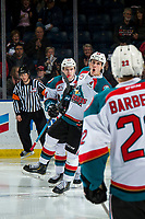 KELOWNA, CANADA - JANUARY 26:  Kyle Topping #24, Matt Barberis #22 and Nolan Foote #29 of the Kelowna Rockets celebrate a second period goal against the Vancouver Giants on January 26, 2019 at Prospera Place in Kelowna, British Columbia, Canada.  (Photo by Marissa Baecker/Shoot the Breeze)
