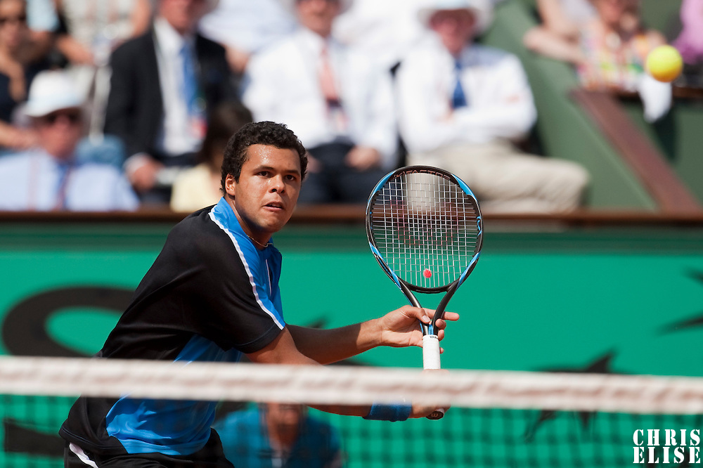 1 June 2009: Jo Tsonga of France eyes the ball as he prepares a backhand during the Men's Single Fourth Round match on day nine of the French Open at Roland Garros in Paris, France.