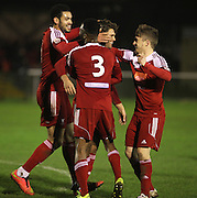 Whitehawk midfielder Scott Neillson celebrates after scoring the equaliser during the FA Trophy match between Whitehawk FC and Dover Athletic at the Enclosed Ground, Whitehawk, United Kingdom on 12 December 2015. Photo by Bennett Dean.