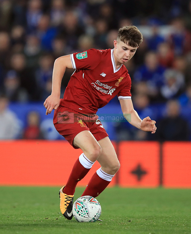 "Liverpool's Ben Woodburn during the Carabao Cup, third round match at the King Power Stadium, Leicester. PRESS ASSOCIATION Photo. Picture date: Tuesday September 19, 2017. See PA story SOCCER Leicester. Photo credit should read: Mike Egerton/PA Wire. RESTRICTIONS: EDITORIAL USE ONLY No use with unauthorised audio, video, data, fixture lists, club/league logos or ""live"" services. Online in-match use limited to 75 images, no video emulation. No use in betting, games or single club/league/player publications."