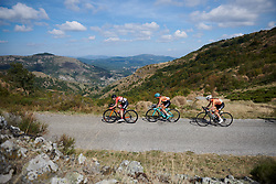 The break begin the descent at Tour Cycliste Féminin International de l'Ardèche 2018 - Stage 7, a 90.9km road race from Chomerac to Privas, France on September 18, 2018. Photo by Sean Robinson/velofocus.com