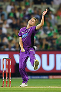 14th January 2019, Melbourne Cricket Ground, Melbourne, Australia; Australian Big Bash Cricket, Melbourne Stars versus Hobart Hurricanes;  Riley Meredith of the Hobart Hurricanes bowls the ball