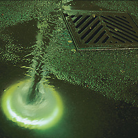 USA, Washington, Seattle, Space Needle is reflected in puddle of water during summer evening rain shower