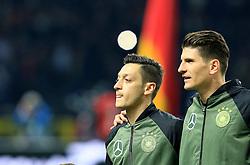 Germanys Mesut Ozil and Mario Gomez sing the national anthem - Mandatory by-line: Matt McNulty/JMP - 26/03/2016 - FOOTBALL - Olympiastadion - Berlin, Germany - Germany v England - International Friendly