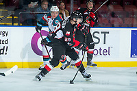 KELOWNA, CANADA - FEBRUARY 20:  Vladislav Mikhalchuk #29 of the Prince George Cougars takes a shot from the point against the Kelowna Rockets on February 20, 2018 at Prospera Place in Kelowna, British Columbia, Canada.  (Photo by Marissa Baecker/Shoot the Breeze)  *** Local Caption ***