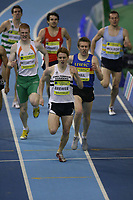 Photo: Rich Eaton.<br /> <br /> Norwich Union European Indoor Trials and UK Championships, Sheffield. 11/02/2007.  James Brewer of Cheltenham Harriers leads the field off the final bend to win the 800 metres