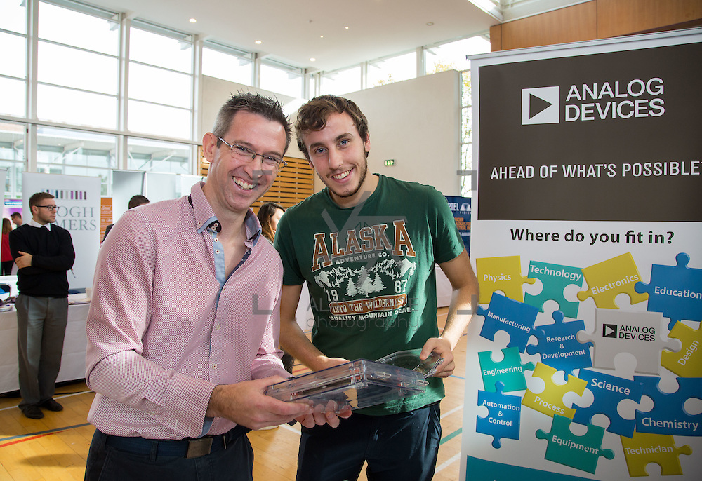 11.10.2016           <br /> Limerick Institute of Technology Careers Fair. Pictured are, Marcus Kelly and Cody Fitzgerald, Analog Devices. Picture: Alan Place