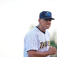 New York Yankees Third Baseman Alex Rodriguez reacts with a clenched fist during a minor league game for the AA Trenton Thunder in Trenton, NJ on August 3, 2013.  He is facing a suspension by Major League Baseball for his alleged use of steroids with the Biogenesis clinic in Florida.