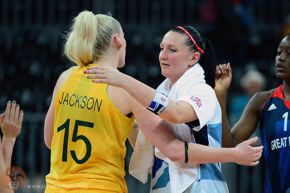 Jul 28, 2012; London, United Kingdom; Australia forward Lauren Jackson (15) greets Great Britain guard Julie Page (10, right) after the game at Basketball Arena. Australia defeated Great Britain 74-58.