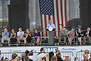 Gulfport, MS 8/28/15 . President Bush speaks to a group of Mississippi first responders on the 10th Anniversary of Hurricane Katrina. The event was hosted by Mississippi Emergency Management Agency (MEMA) who were responsible for helping plan the State's hurricane response. Pictured on statge are from left, Governor Haley Barbour and his wife Marsha, Governor Phil Bryant and First Lady Deborah Bryant, Laura Bush, MS Senator Thad Cochran and his wife, and Senator Wicker and his wife. Photo ©Suzi Altman