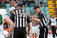 KELOWNA, BC - SEPTEMBER 22: Field officials stand at centre field at the Apple Bowl on September 22, 2019 in Kelowna, Canada. (Photo by Marissa Baecker/Shoot the Breeze)