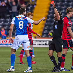#8 Gary Dicker (Kilmarnock) contests referee Nick Walsh's decision to send him off - Kilmarnock v Dundee - Ladbrokes Premiership - 13 February 2018 - © Russel Hutcheson | SportPix.org.uk