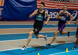 Maarten Plaum and Djoao Lobles in action on 800 meter during the Dutch Indoor Athletics Championship on February 23, 2020 in Omnisport De Voorwaarts, Apeldoorn