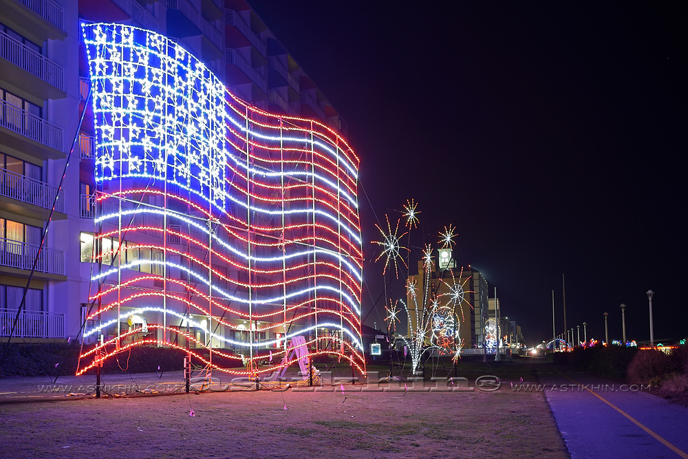 American flag at night.