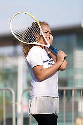 LIVERPOOL, ENGLAND - Monday, June 10, 2013: Northern Vision's Viktoriya Sabotinova during a corporate tennis tournament at Chavasse Park in Liverpool ONE ahead of the Liverpool Hope University International Tennis Tournament. (Pic by David Rawcliffe/Propaganda)