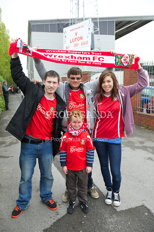 WREXHAM, WALES - Monday, May 7, 2012: A family of Wrexham supporters before the Football Conference Premier Division Promotion Play-Off 2nd Leg against Luton Town at the Racecourse Ground. (Pic by David Rawcliffe/Propaganda)