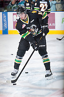 KELOWNA, CANADA - JANUARY 26: Jayden Hart #18 of the Prince Albert Raiders stick handles the puck during warm up at the Kelowna Rockets on January 26, 2013 at Prospera Place in Kelowna, British Columbia, Canada (Photo by Marissa Baecker/Shoot the Breeze) *** Local Caption ***