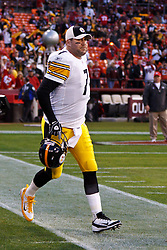 Dec 19, 2011; San Francisco, CA, USA; Pittsburgh Steelers quarterback Ben Roethlisberger (7) enters the field for warm ups before the game against the San Francisco 49ers at Candlestick Park. San Francisco defeated Pittsburgh 20-3. Mandatory Credit: Jason O. Watson-US PRESSWIRE
