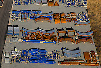 Aerial view of miscellaneous steel parts, as seen near the Port of Wilmington.