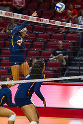 BLOOMINGTON, IL - September 15: Hope Werch during a college Women's volleyball match between the ISU Redbirds and the Marquette Golden Eagles on September 15 2019 at Illinois State University in Normal, IL. (Photo by Alan Look)