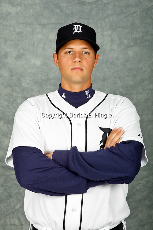 February 28, 2012; Lakeland, FL, USA; Detroit Tigers starting pitcher Andrew Oliver (43) poses for photo day in the rec room at the Detroit Tigers Headquarters.  Mandatory Credit: Derick E. Hingle-US PRESSWIRE