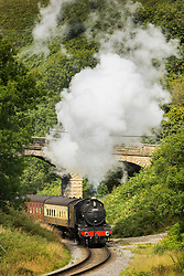 © Licensed to London News Pictures. 01/09/2015. Darnholme, UK. Picture shows the The Great Marquess steam train travelling along the Goathland to Pickering line in the North Yorkshire Moors.Photo credit: Andrew McCaren/LNP