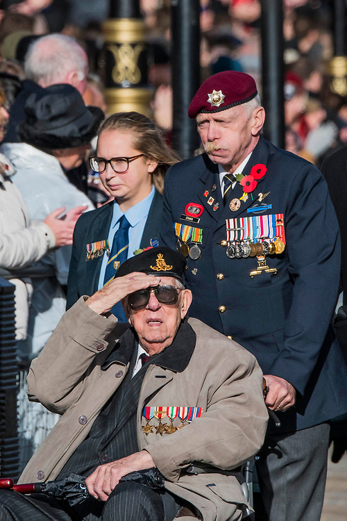 Veterans, incl the Royal Artillery , march past the Cenothaph and down Whitehall - Remembrance Sunday and Armistice Day commemorations fall on the same day, remembering the fallen of all conflicts but particularly the centenary of the end of World War One.
