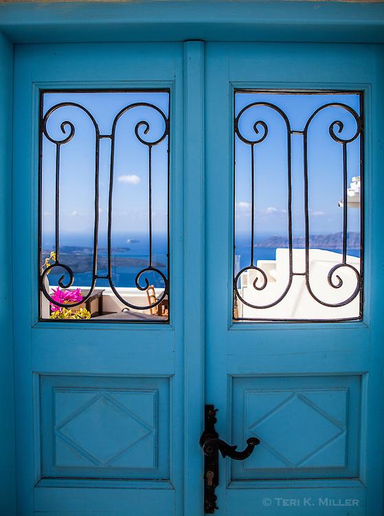 Doors with a view of the caldera, Santorini, Greece