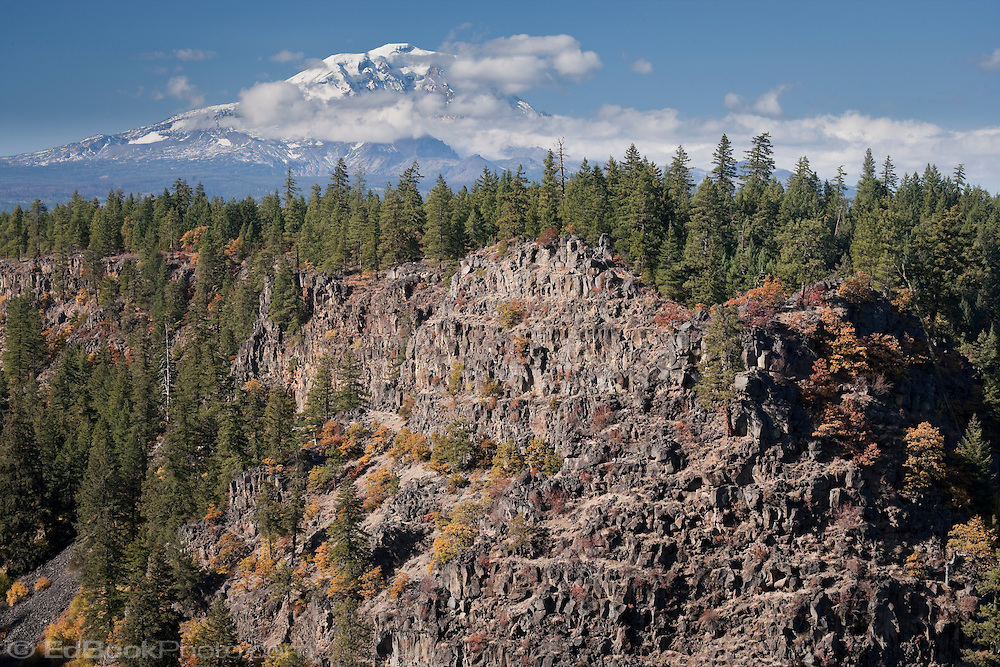Autumn vine maple color the volcanic cliffs above Outlet Creek's side canyon flowing into the Klickitat Canyon with  Mt Adams Mount Adams in the distance, Klickitat County, WA, USA