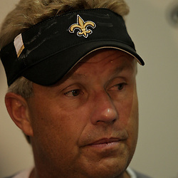 12 August 2009: Saints defensive coordinator Gregg Williams talks to the media following practice during New Orleans Saints training camp at the team's indoor practice facility in Metairie, Louisiana.
