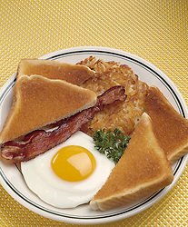 breakfast plate one fried egg sunny side up slice bacon toast bread hash brown home fry potato potatoes Cuisine