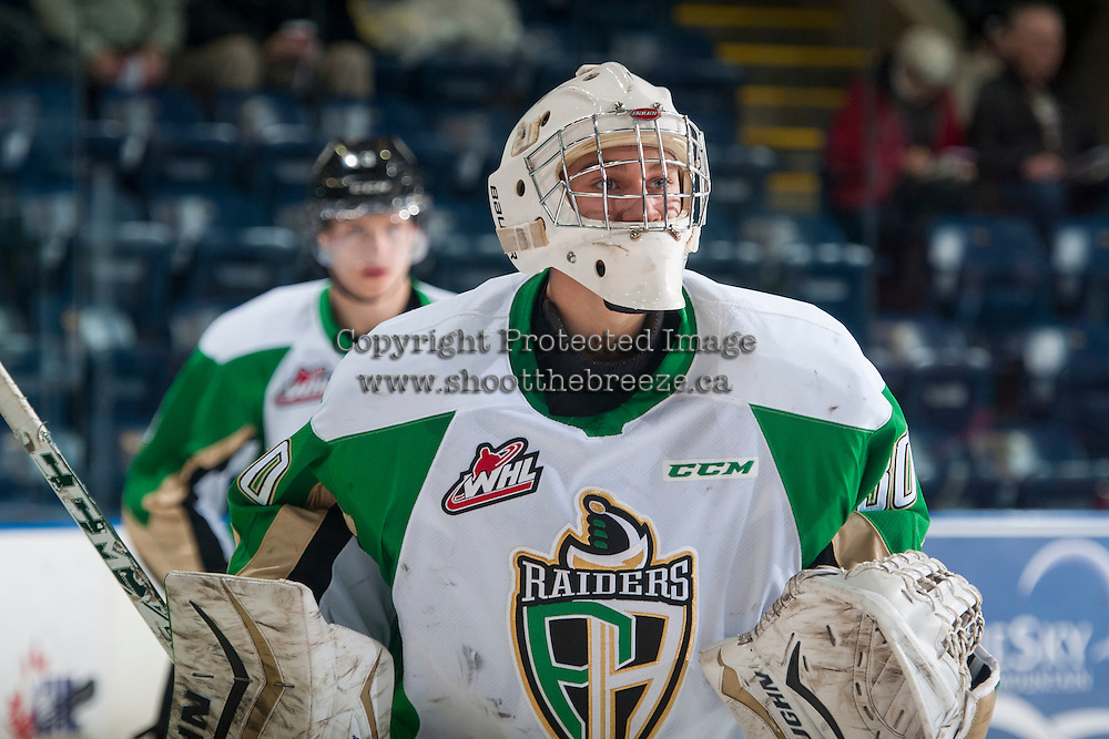 KELOWNA, CANADA - DECEMBER 6:  Rylan Parenteau #30 of Prince Albert Raiders skates during warm up against the Kelowna Rockets on December 6, 2014 at Prospera Place in Kelowna, British Columbia, Canada.  (Photo by Marissa Baecker/Shoot the Breeze)  *** Local Caption *** Rylan Parenteau;