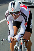 Fabian Cancellara strains to keep in contention. The mens time trial goes through Bushy Park with less than a thousand metres to the finish at Hampton Court, London, UK, 01 Aug 2012. Guy Bell, guy@gbphotos.com