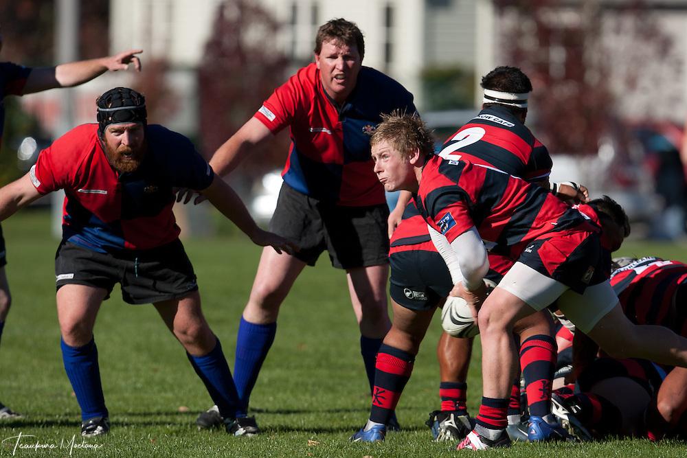 Maniototo Vs Arrowtown during a White Horse Cup rugby match at Jack Reid Park, Arrowtown, New Zealand, Saturday April 14, 2012. Credit: Teaukura Moetaua / Media Sport