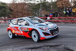 14.01.2014, Shakedownstrecke, Monte Carlo, FRA, FIA, WRC, Rallye Monte Carlo, Shakedown, im Bild NEUVILLE Thierry / GILSOUL Nicolas ( Hyundai Motorsport (GER) / Hyundai i20 )<br />  // during the Shakedown of FIA Rallye Monte Carlo held near Monte Carlo, France on 2014/01/14. EXPA Pictures © 2014, PhotoCredit: EXPA/ Eibner-Pressefoto/ Neis<br /> <br /> *****ATTENTION - OUT of GER*****