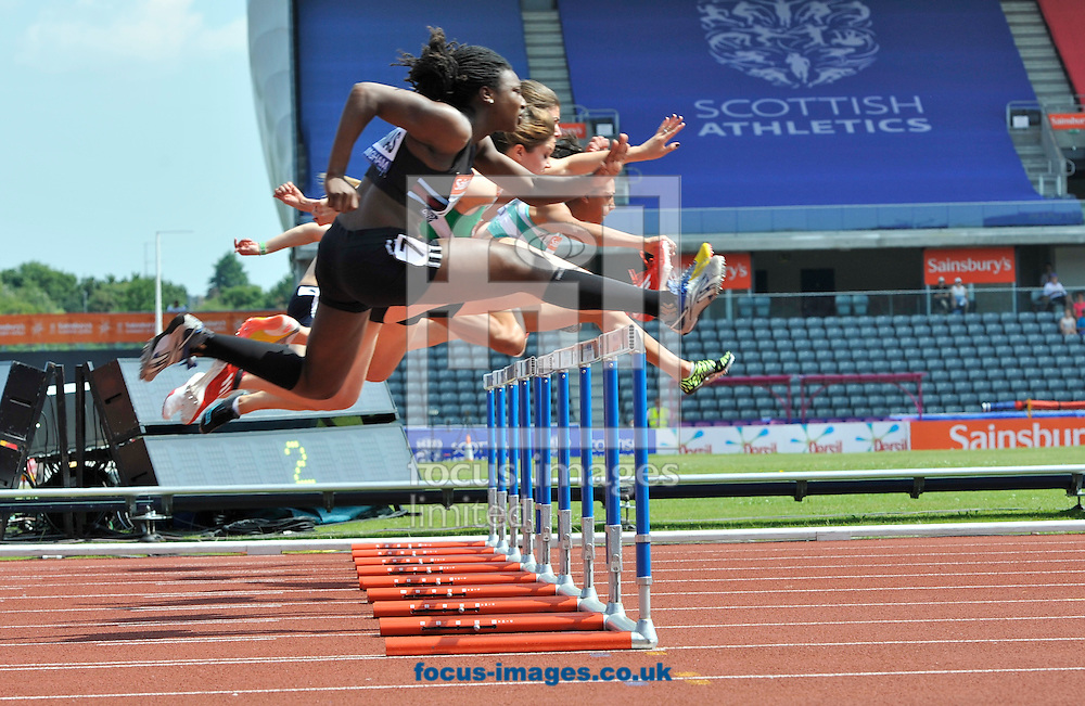 Picture by Alan Stanford/Focus Images Ltd +44 7915 056117<br /> 12/07/2013<br /> Action from the 100m hurdles pictured during day two of Sainsbury's British Championship at Alexander Stadium, Birmingham.