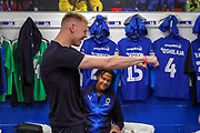 AFC Wimbledon goalkeeper Aaron Ramsdale (35) dancing in the dressing room during the EFL Sky Bet League 1 match between AFC Wimbledon and Bristol Rovers at the Cherry Red Records Stadium, Kingston, England on 19 April 2019.