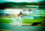 One man racing a bicycle in Blacksburg, Virginia.