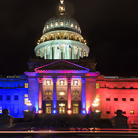 Capitol Blue and Orange lights, Homecoming Week, Photo Patrick Sweeney
