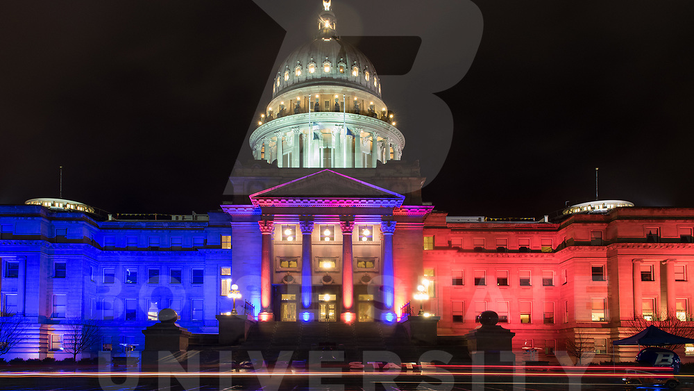 Capitol Blue and Orange lights, Homecoming Week, Photo Patrick Sweeney