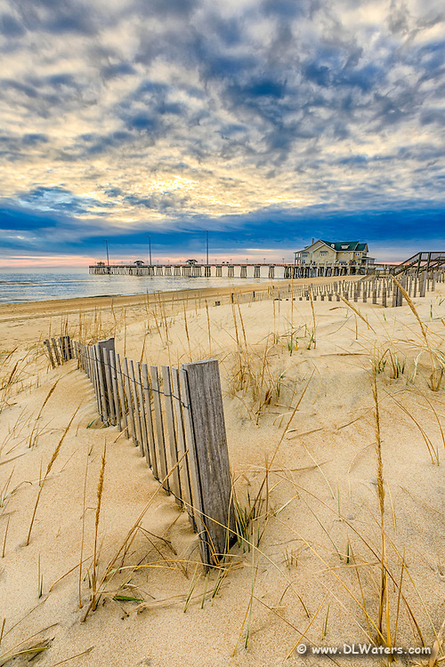 Clouds at sunrise at Jennette's Pier in Nags Head on the Outer Banks.