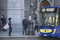 After the end of the quarantine in Italy all the bus and metro lines have restarted the service, but the users must follow required ways and observing some security measures like wear face masks or keep almost one meter distance from each one , Turin (Italy) on May 4, 2020. Photo by Marco Piovanotto/ABACAPRESS.COM
